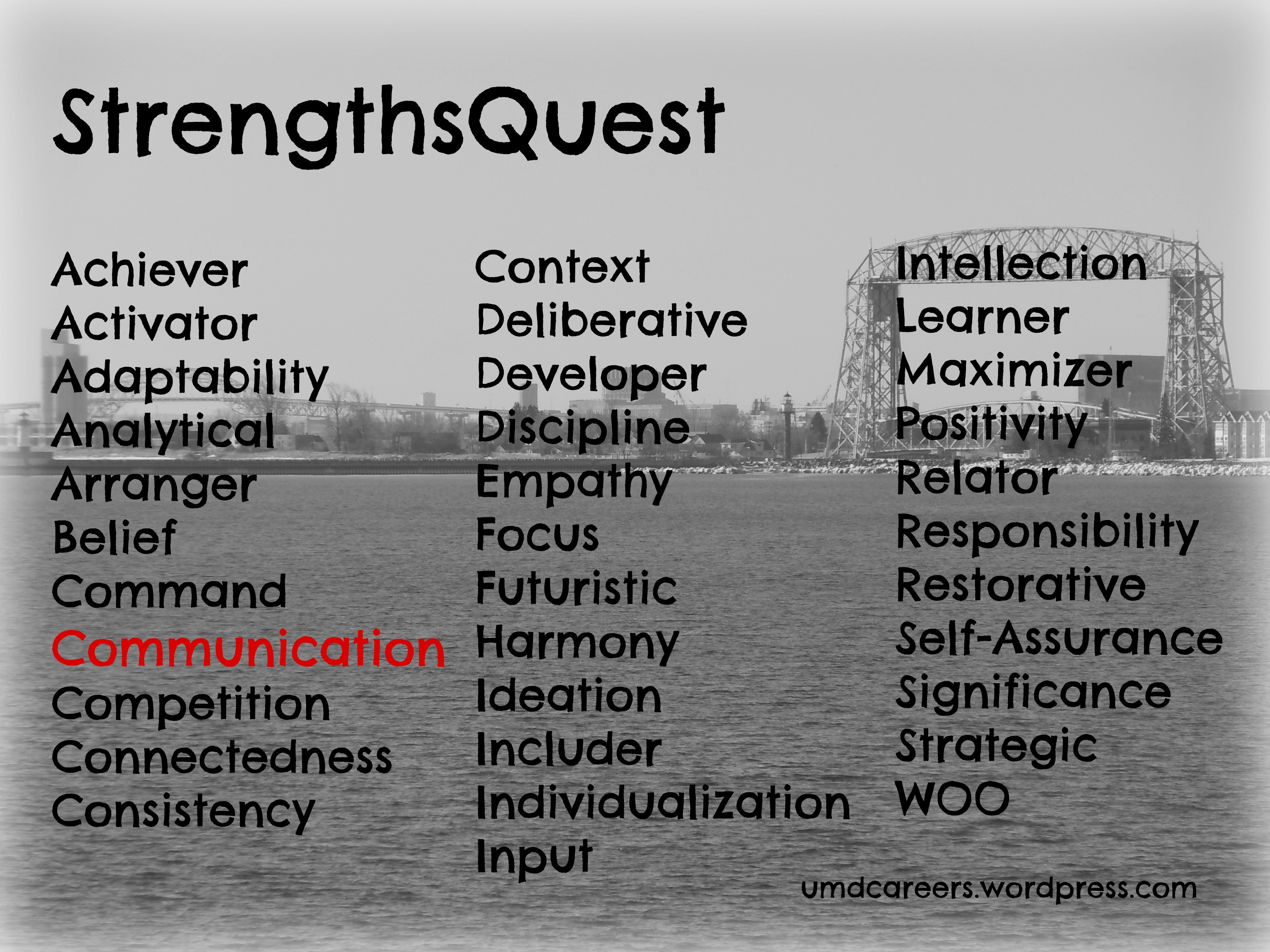 strengthsquest page peer into your career in the career internship services office i took the strengthsquest assessment for my first time and communication came up in my top 5 strengths