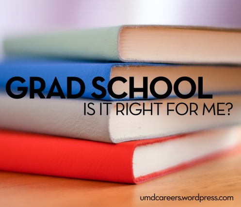 Grad school: is it right for me?; Book stack on table