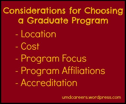 Considerations for grad school