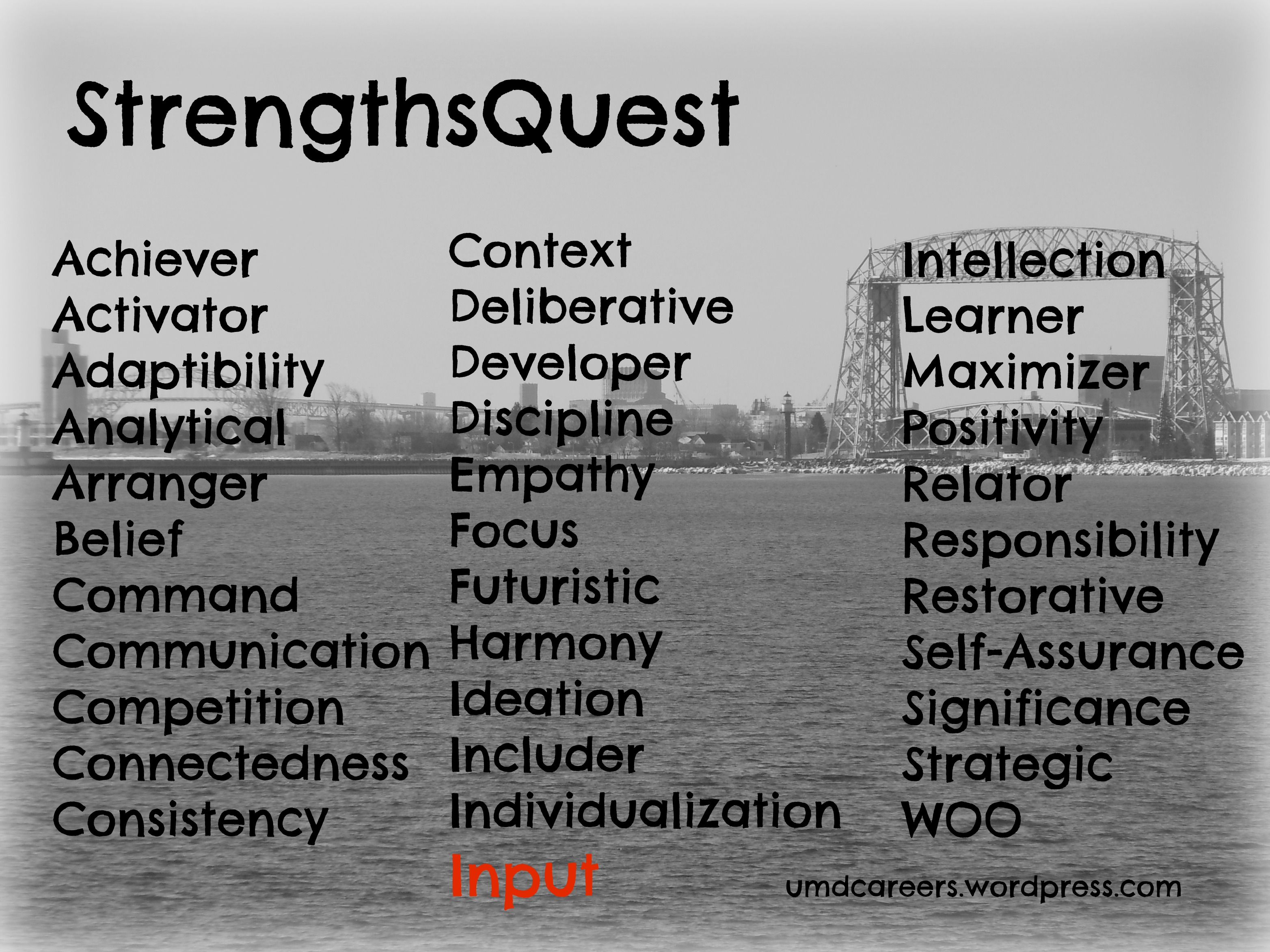 2013 page 17 peer into your career what does the input strength look like to me since taking the strengthsquest assessment i have identified a number of things that characterize me as