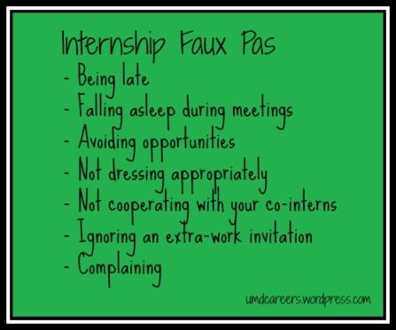 Internship Faux Pas