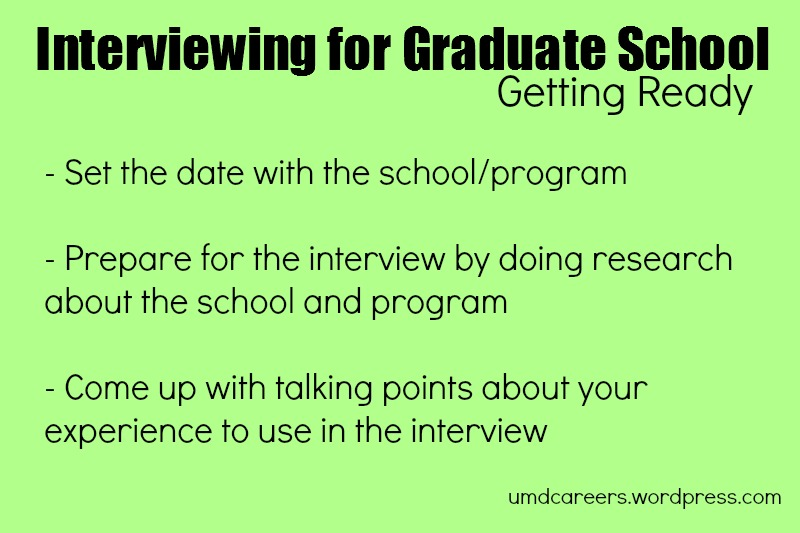 Grad School interview pt 1