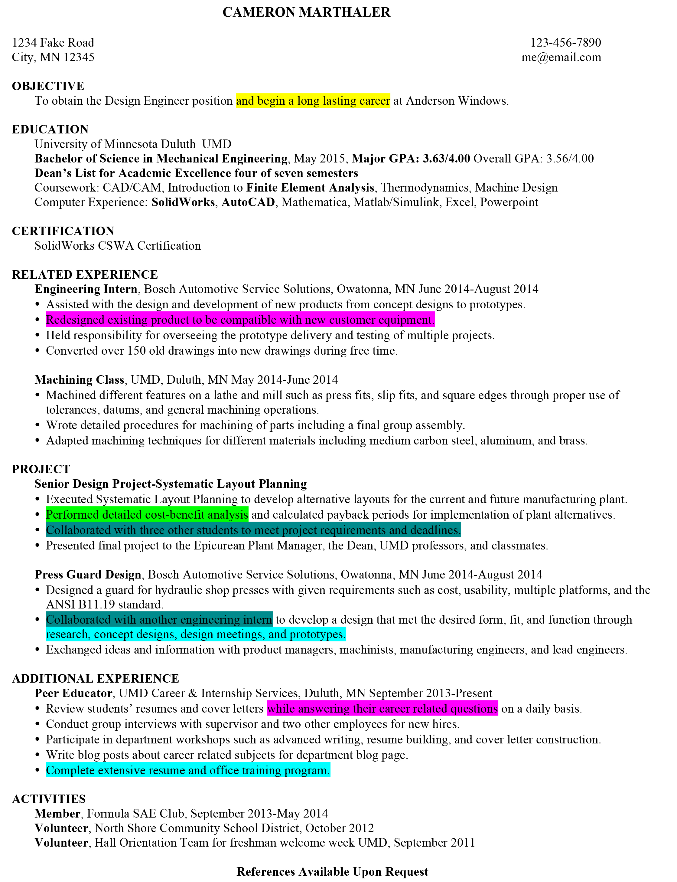 Resume strengths examples