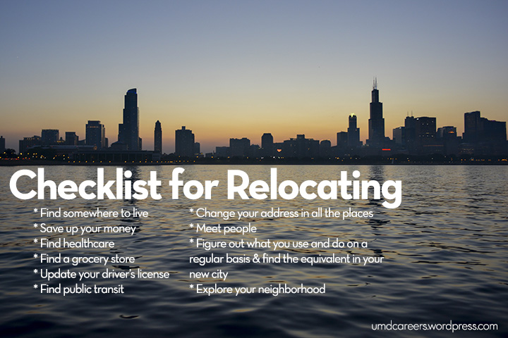 Checklist for relocating
