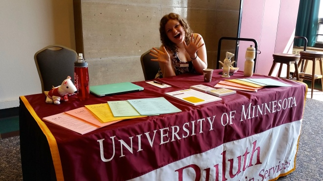 Katie tabling for C&IS at a Bulldog Friday Visit.