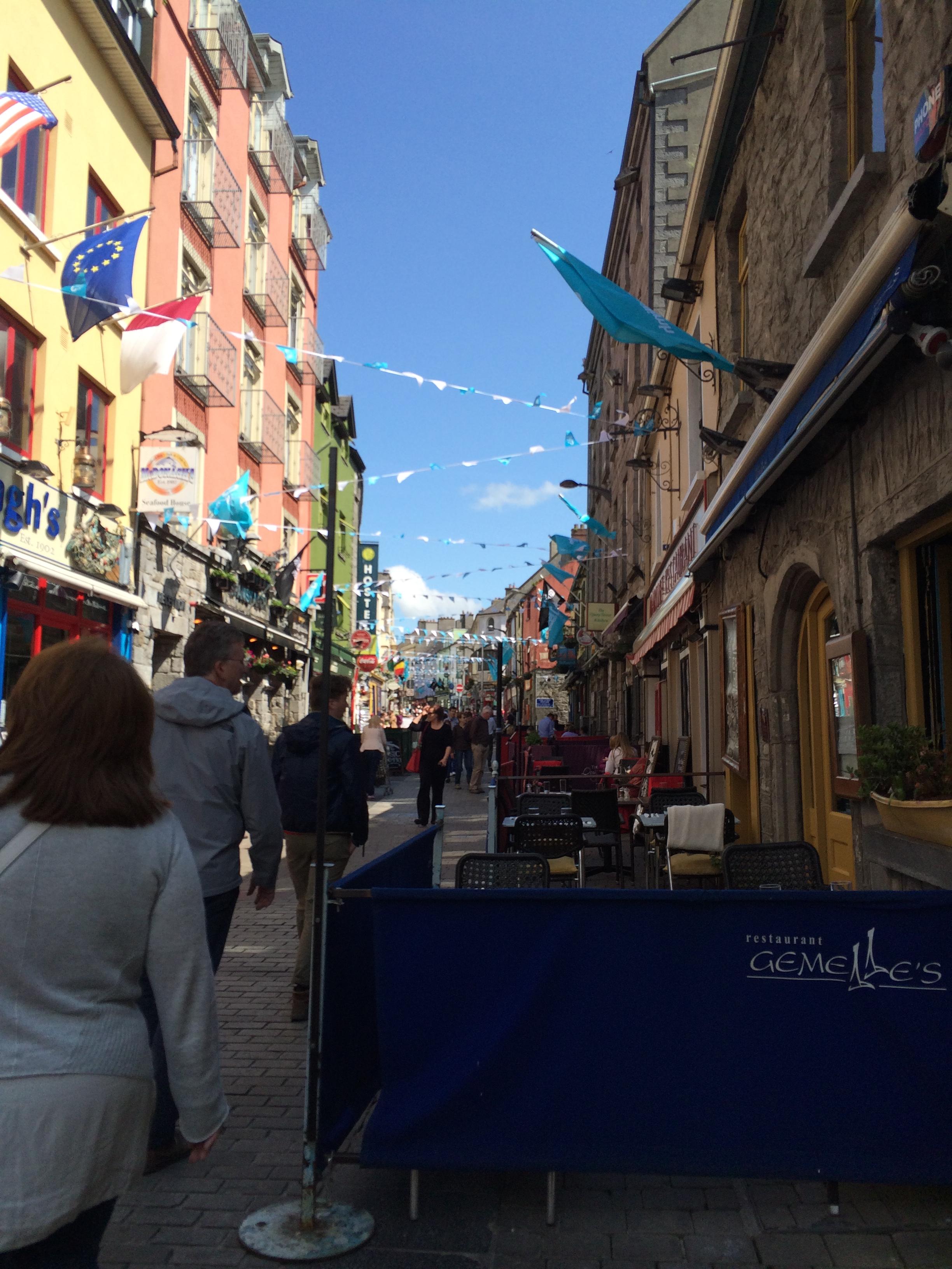 Busy street in Ireland