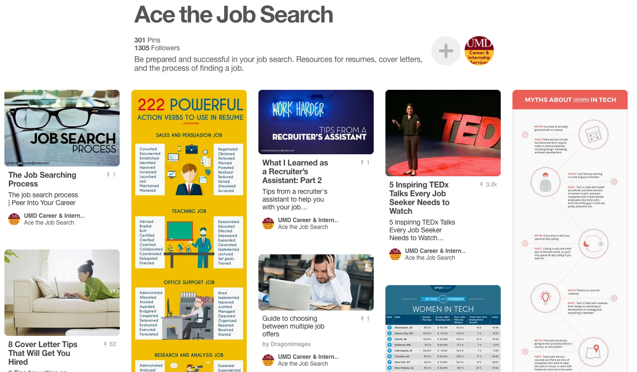 Ace the Job Search Pinterest board screenshot