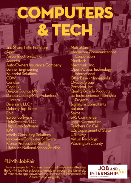 List of companies recruiting for computers and tech