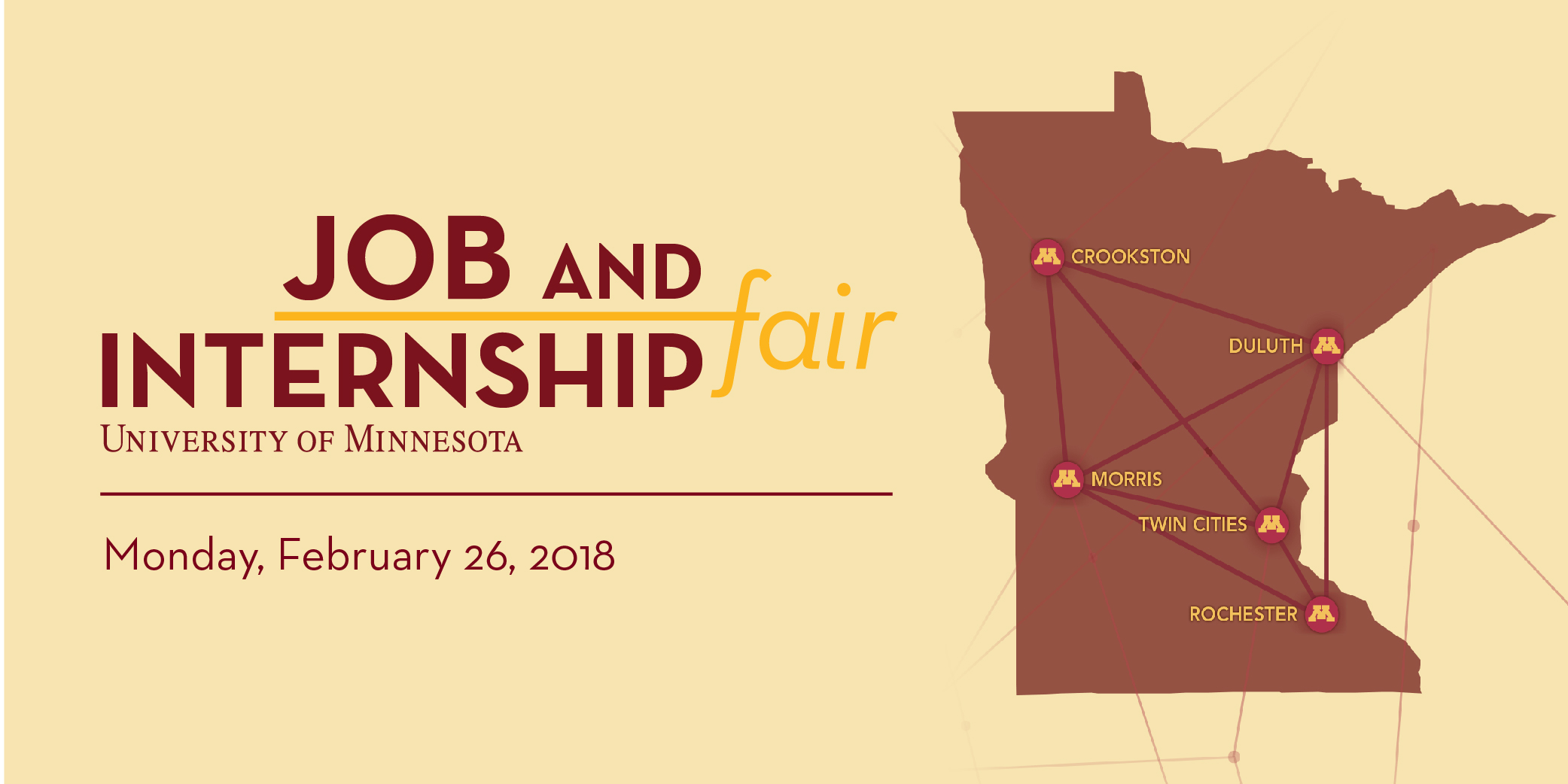 UMN Job & Internship Fair with Minnesota Map