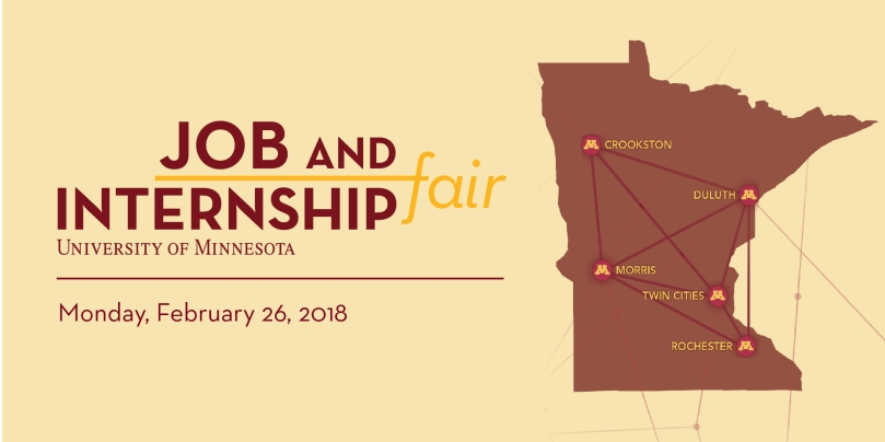 UMN Job & Internship Fair with Minnesota Map