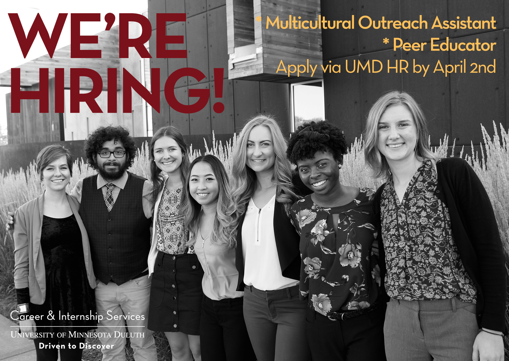 We're hiring! Multicultural Outreach Assistant and Peer Educator. Apply via UMD HR by April 2nd.