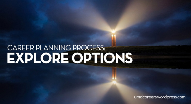 Lighthouse with light beam at night. Text: Career planning process: explore options.