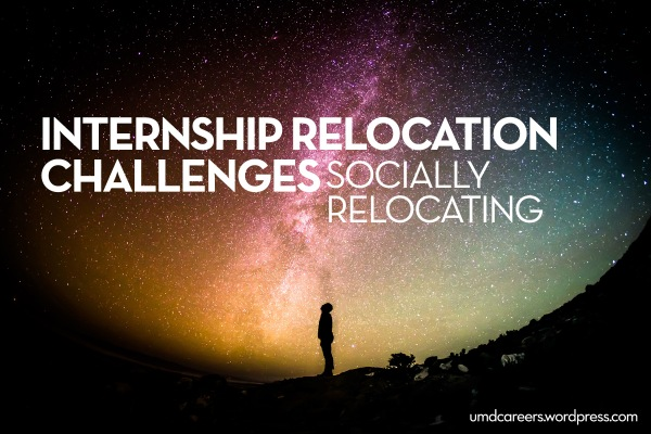 Person gazing up at night sky; text: internship relocation challenges socially relocating