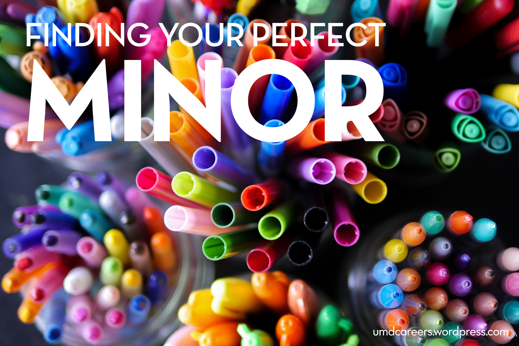 Image: looking down at groupings of pens and markers Text: Finding your perfect minor