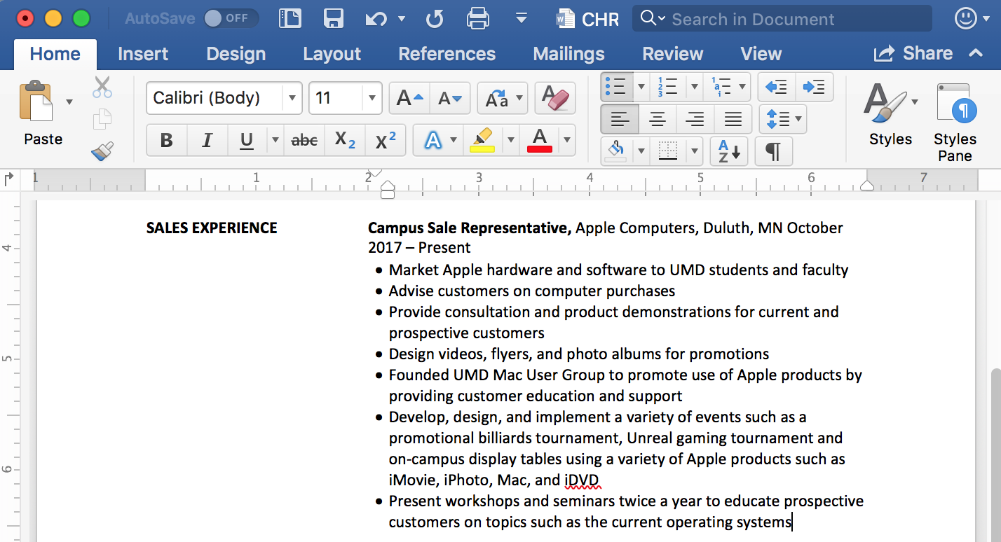 Screenshot of resume in Microsoft Word
