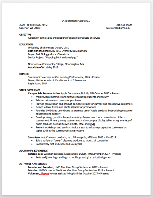 Resume example with most content starting on left side of page