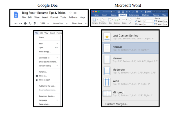 Examples from Google Doc and Microsoft Word to find margins