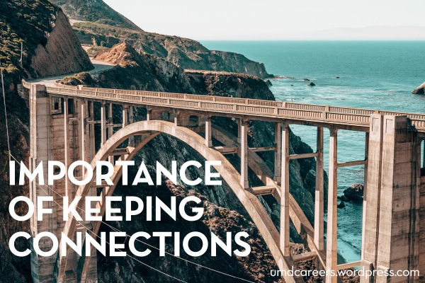 Image: bridge with water and cliffs in background Text: Importance of keeping connections