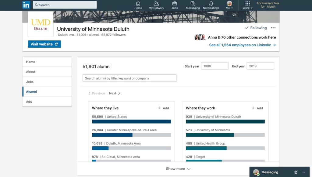 Screenshot of LinkedIn Alumni Feature