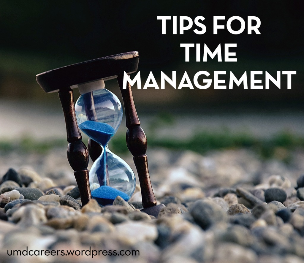 Text: Tips for Time Management Image: hour glass with blue sand on a rock beach
