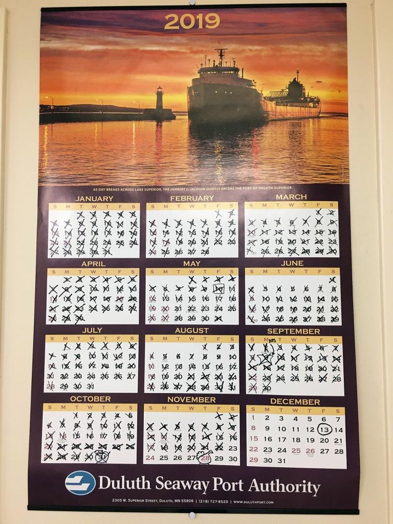 2019 calendar on wall