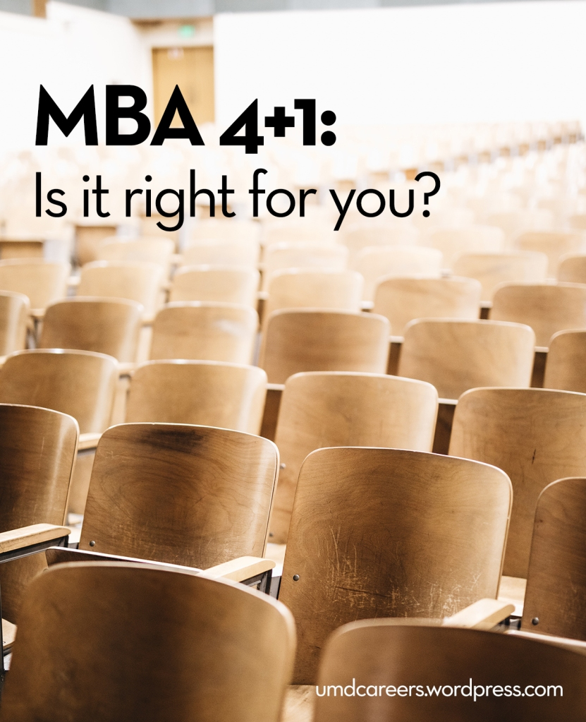 Image: empty lecture hall chairs Text: MBA 4+1: is it right for you?