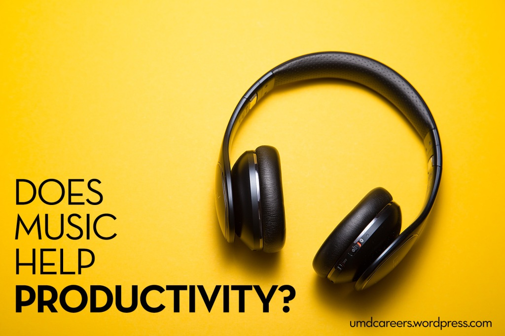 Image: headphones on yellow background Text: Does music help productivity?