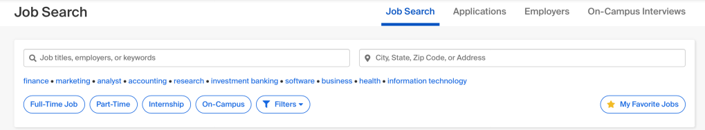 Job search filter menu on GoldPASS
