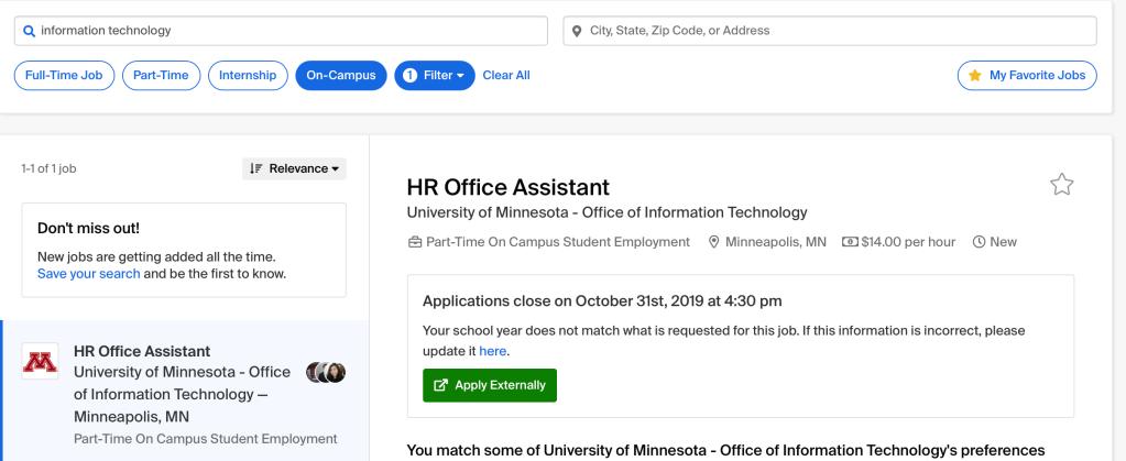Job posting screenshot from GoldPASS