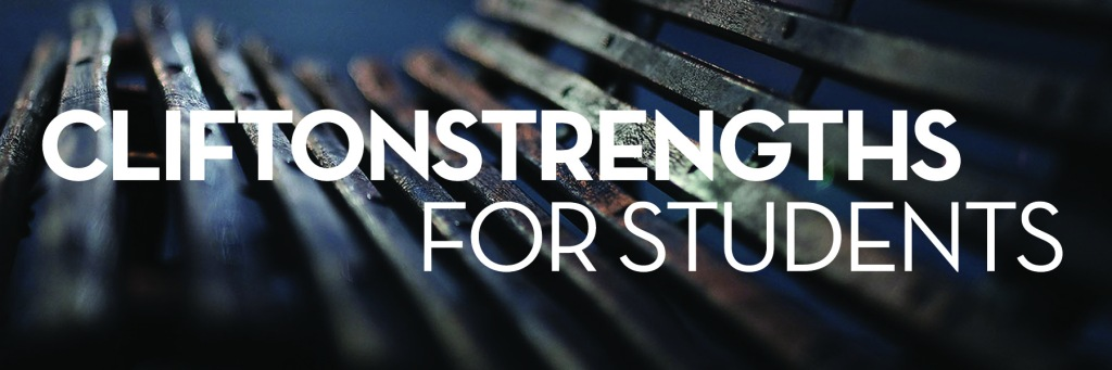 Image: wooden slat bench Text: CliftonStrengths for Students