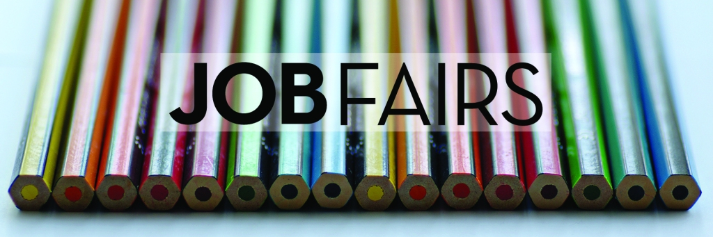 Image: colored pencils on desktop Text: Job Fairs