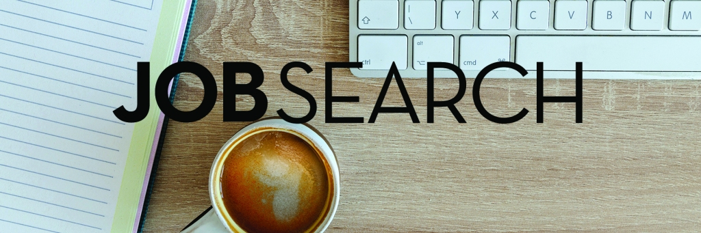 Image: wood desktop with notebook, coffee cup, and keyboard Text: Job Search