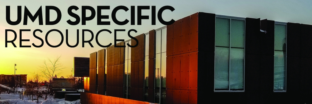 Image: sunrise and building Text: UMD specific resources
