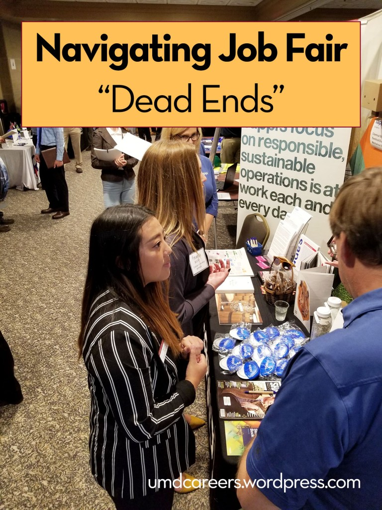 "Image: two female college students talking with employers at job fair table Text: Navigating job fair ""dead ends"""