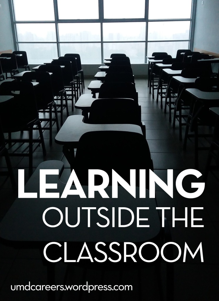 Image: desks in classroom Text: Learning outside the classroom