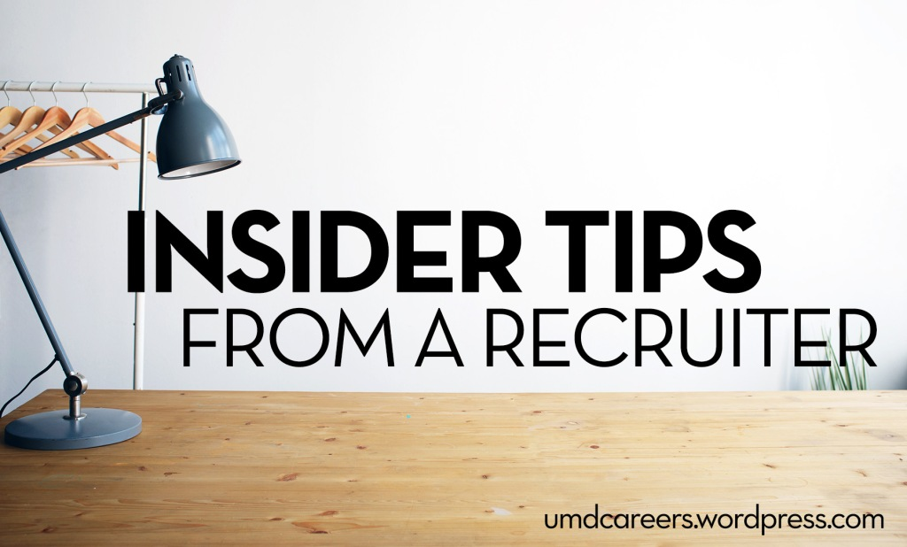 Image: wooden desk with gray lamp Text: Insider tips from a recruiter