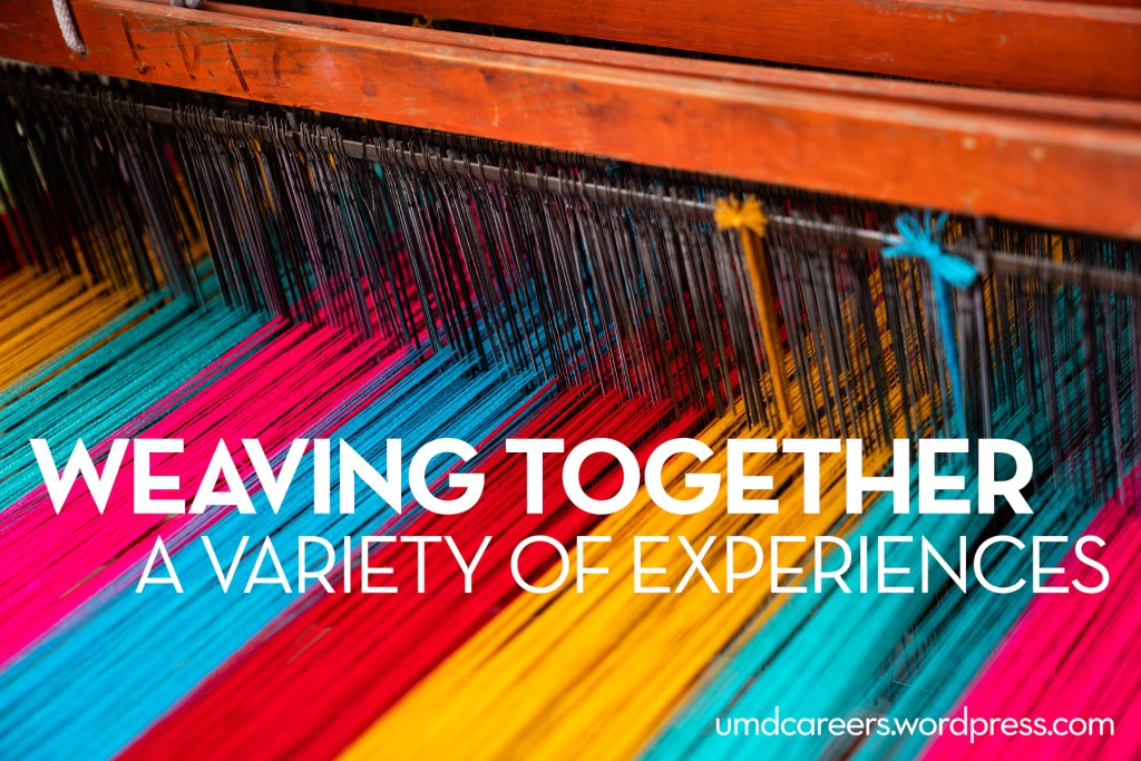 Image: weaving loom with colorful yarn. Text: weaving together a variety of experiences