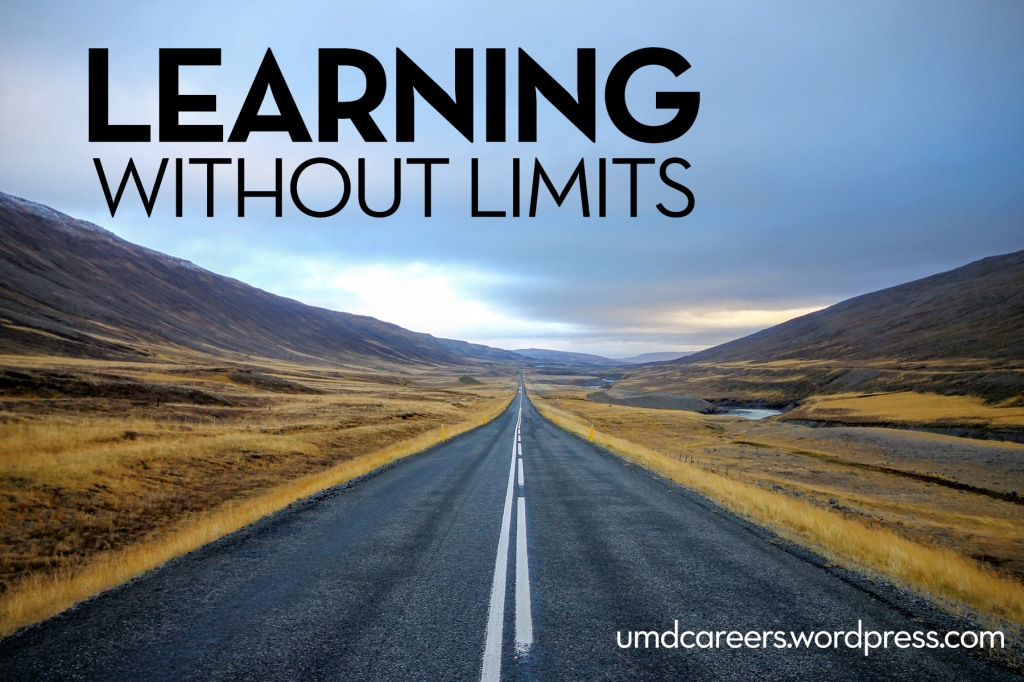 Image: empty road going towards horizon of mountains Text: learning without limits