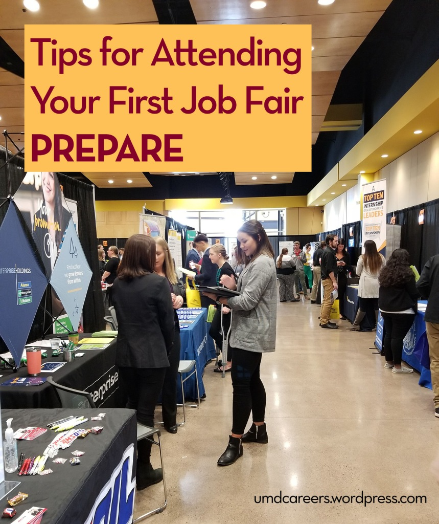 Image: Young woman in suit jacket talking people Text: Tips for attending your first job fair - prepare