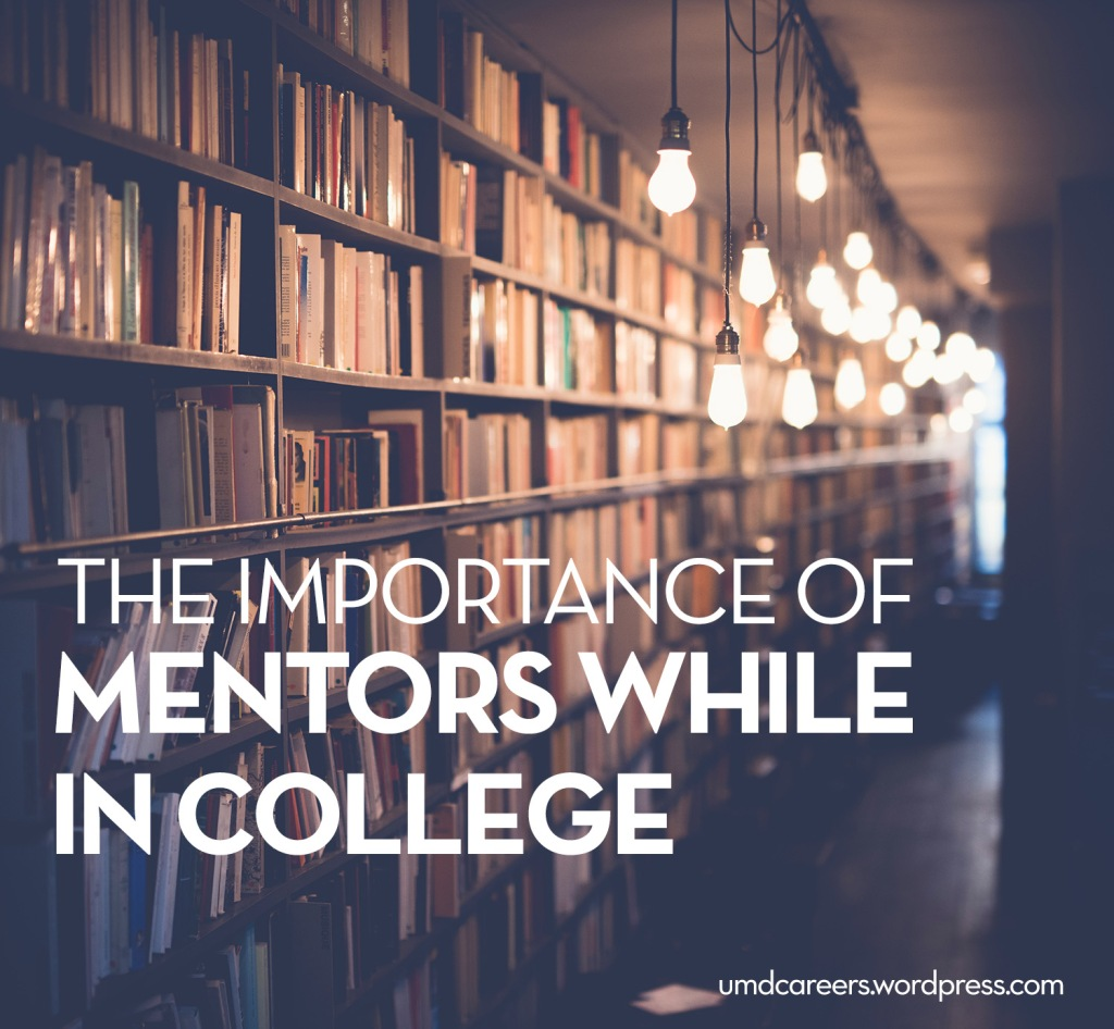 Image: book shelves at an angle with lit lightbulbs dangling from ceiling Text: The importance of mentors while in college.