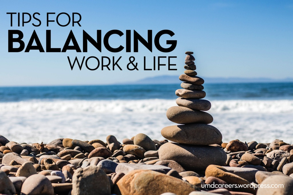 Image: rock stack with ocean in background Text: tips for balancing work and life