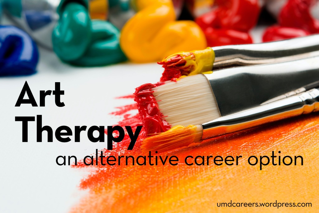 Image: paint brushes with yellow and red paint on them, laying on a white desktop Text: Art Therapy, an alternative career option