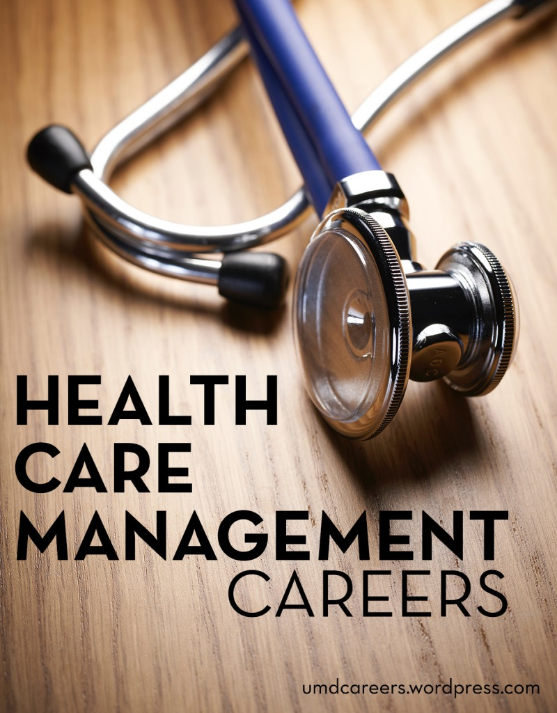 Image: stethoscope laying on wood desk Text: health care management careers