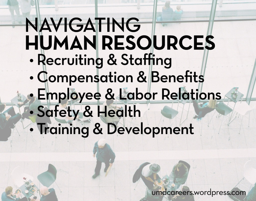 Image: looking down into a lobby area where people are sitting at tables or walking Text: navigating human resources: recruiting & staffing, compensation & benefits, employee & labor relations, safety & health, training & development