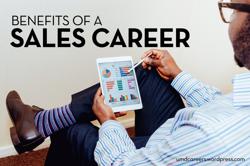 Image: Black man holding iPad filled with charts Text: Benefits of a sales career