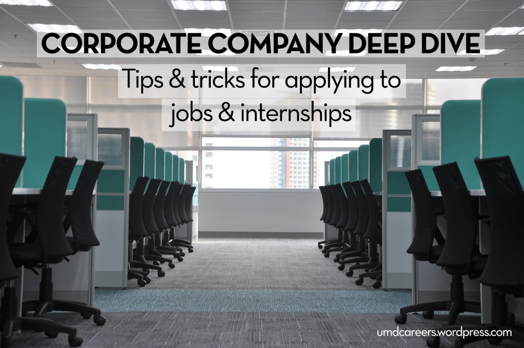 Image text: Corporate company deep dive - tips & tricks for applying jobs & internships Image: aisle with chairs at cubicles on either side