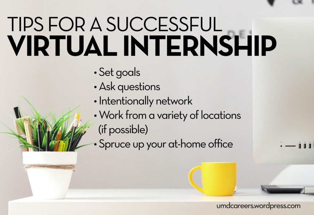 Text: tips for a successful virtual internship Image: desk with fake plant, yellow coffee cup, and computer monitor