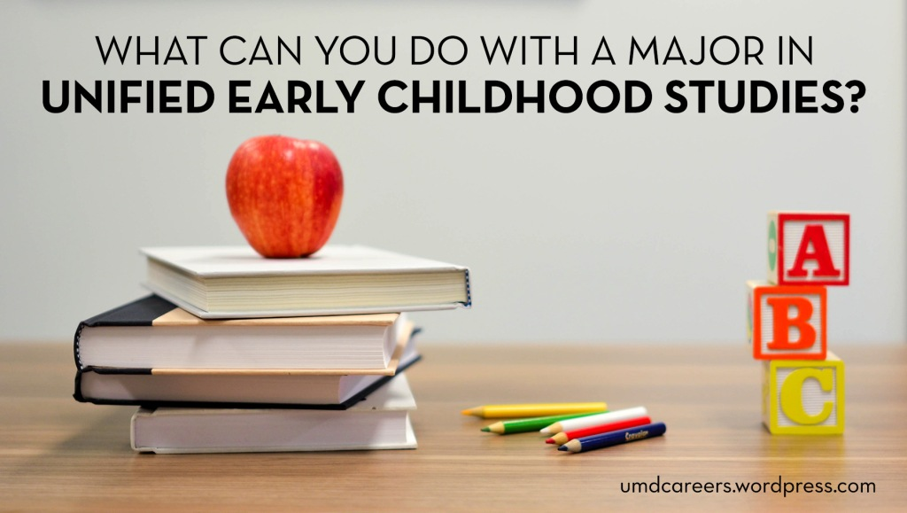 Image: on a table - stack of books with apple on top, colored pencils, ABC letter blocks Text: What can you do with a major in Unified Early Childhood Studies?