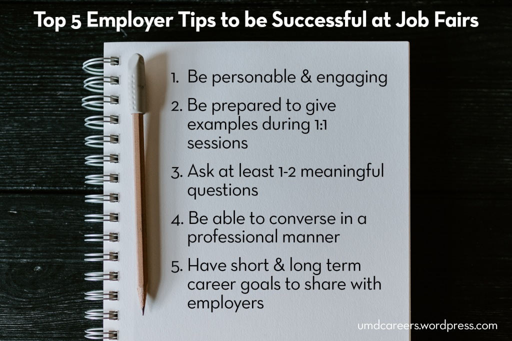 Image: open notebook on wood desktop Text: Top 5 employer tips to be successful at job fairs.