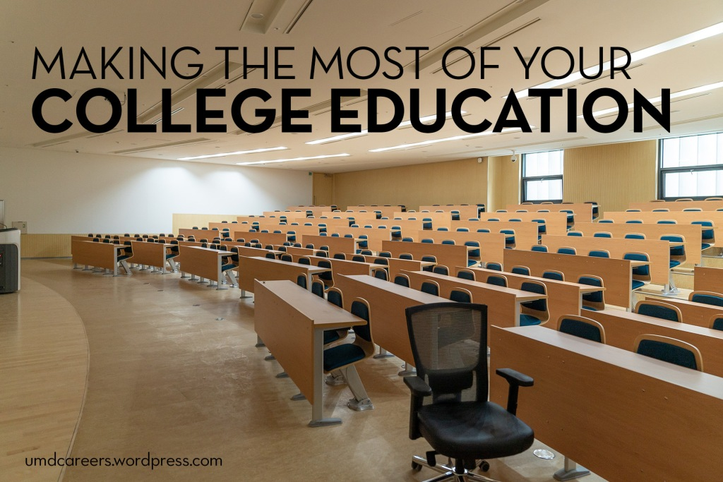 Image: empty college lecture hall Text: Making the most of your college education